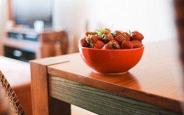 красная, клубника, ягоды, миска