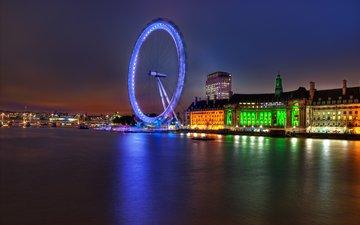 огни, вечер, река, великобритания, лондон, темза, колесо обозрения, англия, подсветка, архитектура, здания, london eye, столица, great britain