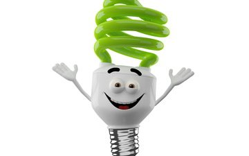 monster, white background, light bulb, smiling monster
