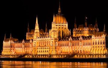 свет, ночь, огни, вода, река, подсветка, столица, венгрия, будапешт, парламент, дунай