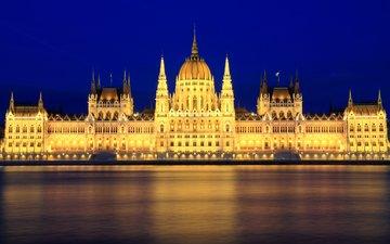 небо, ночь, огни, река, подсветка, архитектура, здание, синее, освещение, столица, венгрия, будапешт, парламент, дунай