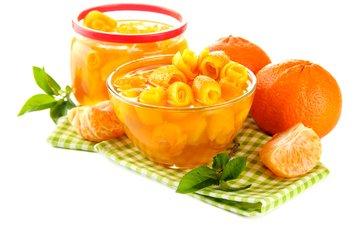 фрукты, банка, мандарины, цитрусы, варенье