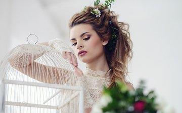цветы, девушка, взгляд, макияж, прическа, клетка, красивая, galina tcivina, phographer, яна