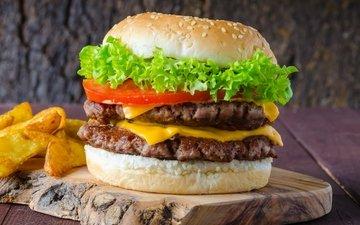 гамбургер, котлета, мясо, помидор, салат, булочка, сэндвич, помидорами, фастфуд, быстрое питание