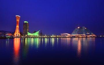 небо, ночь, город, япония, башня, здания, синее, порт, освещение, хонсю, кобе