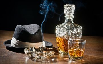 smoke, glass, alcohol, hat, cognac, cigar, whiskey