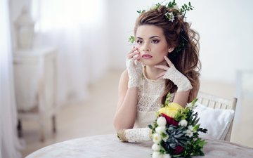 цветы, девушка, взгляд, прическа, перчатки, кружево, ожидание, galina tcivina, phographer, яна