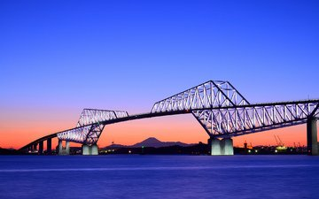 небо, вечер, закат, мост, япония, залив, оранжевый, синее, токио, столица
