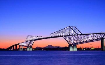 the sky, the evening, sunset, bridge, japan, bay, orange, blue, tokyo, capital