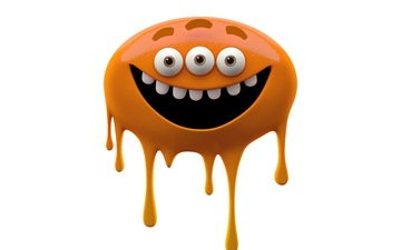 eyes, monster, orange, teeth, white background, smiling monster, slug