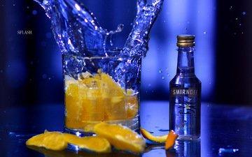 фон, синий, апельсин, всплеск, коктейль, стакан, бутылка, алкоголь, водка, цитрусы, smirnoff, jared c