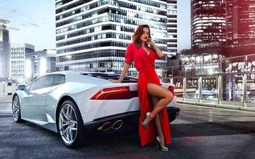 girl, dress, white, model, car, red, lamborghini, huracan