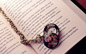 letters, watch, book, arrows, chain, page