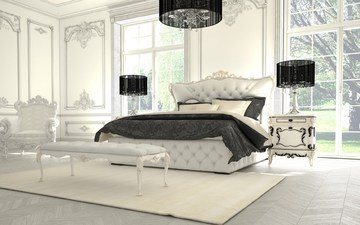 luxurious bedroom, bedroom in black and white