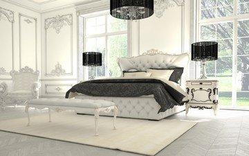 роскошная спальня, спальня в черно-белой гамме