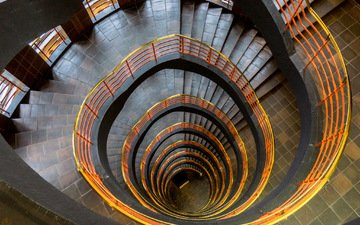 ladder, background, wall, spiral staircase