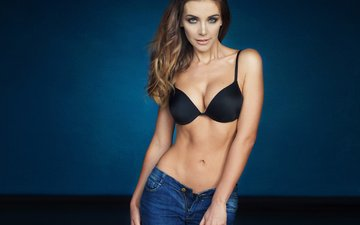 girl, background, pose, brunette, model, jeans, photographer, makeup, hairstyle, figure, bra, beautiful, sexy, libriana