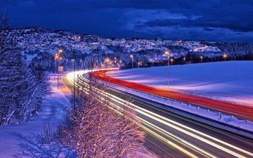 дорога, фонари, огни, зима, норвегия, выдержка, норвегии, автодорога, trondheim