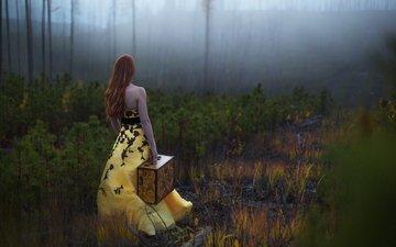 лес, девушка, настроение, платье, туман, осень, рыжая, сосны, спина, волосы, печаль, чемодан