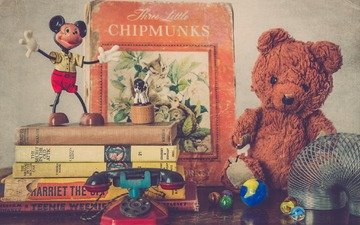 books, toys, childhood, mickey mouse, teddy bear