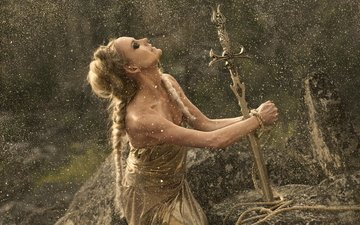 stones, girl, dress, sword, the situation, fantasy, fairy, rope, hairstyle, gold, princess, sorceress, gold plated, braids, fabulously, prisoner, release