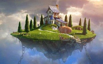 the sky, house, island
