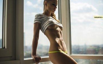 девушка, фото, блондинка, трусики, модель, фигура, тело, белье