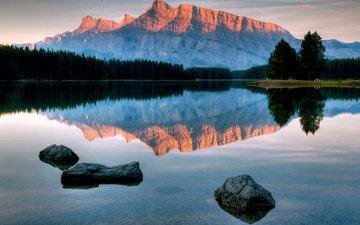 вода, озеро, горы, камни, лес, отражение, дно, тень, гладь, мелководье
