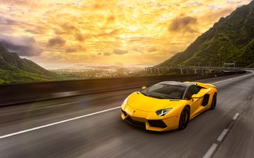 road, yellow, speed, lamborghini, aventador, lp700-4