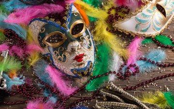 mask, venice, feathers, beads, holiday, carnival, carnevale di venezia wallpaper