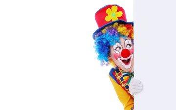 улыбка, клоун, шляпа, позитив, грим