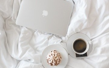 кофе, чашка, ноутбук, пирожное, эппл