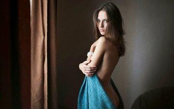 девушка, взгляд, попа, ноги, грудь, полотенце, голая, красивая