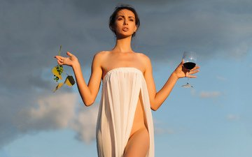 girl, grapes, glass, wine, aphrodite