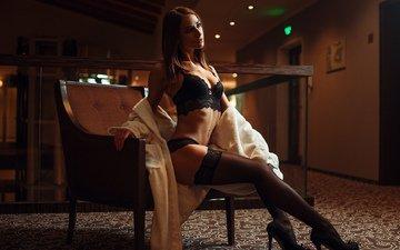 девушка, взгляд, модель, грудь, чулки, милая, фигура, туфли, секси, пирсинг, белье, сиськи, красивая, шатенка, симпатичная, няшка, сексуальная, стройная, титьки