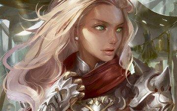 арт, девушка, блондинка, взгляд, профиль, зеленые глаза, доспехи