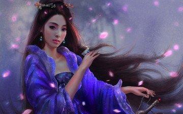 арт, девушка, взгляд, япония, волосы, чай, венок