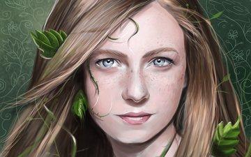 арт, листья, девушка, взгляд, растение, веснушки