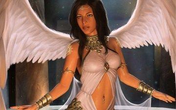 арт, поза, ангел, девушка. взгляд. крылья