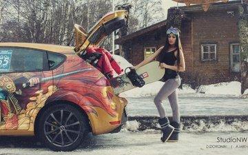 деревья, снег, зима, девушка, машина, брюнетка, очки, улица, авто, дом, сноуборд, фотограф, спорт, фигура, куртка, denis doronin, багажник