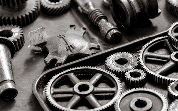 металл, чёрно-белое, метал, gears, шестерни, white and black