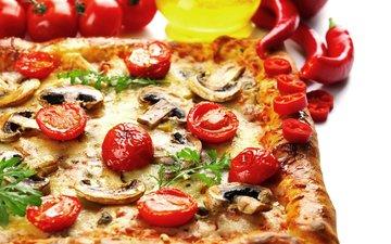 грибы, сыр, помидоры, перец, пицца, начинка, fast food, pizza, pepper, tomato, cheese, mushroom