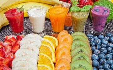 клубника, апельсин, коктейль, киви, черника, морковь, банан, fruit, orange, cocktail, strawberry, сок, blueberry, juice, drinks, carrot