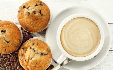 кофе, завтрак, кубок, кексы, капкейк, бобы