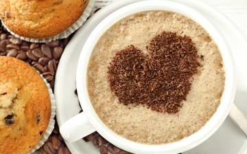 кофе, сердце, любовь, кубок, кексы, влюбленная, капкейк, сердечка, бобы