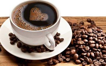 кофе, сердце, пена, пенка, зерна кофе, кофе в зернах, сердечка, оригинальная