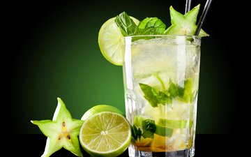 лёд, лайм, коктейль, напитки, лимоны, карамбола