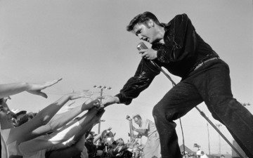 microphone, concert, scene, elvis presley, the audience, rock n roll, elvis