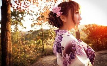 девушка, настроение, портрет, кимоно, азиатка, солнечный свет, женщин, азиат, nпортрет