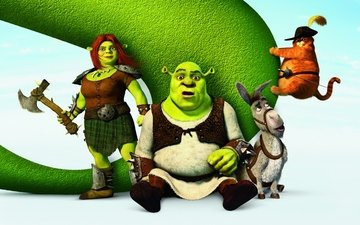 cartoon, hat, donkey, shrek, fiona, sword, ogre, poster, puss in boots, shrek forever after, princess fiona